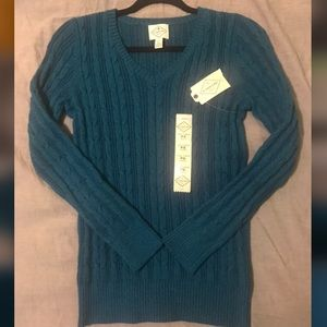 St. John's Bay NEW teal cable knit sweater, S
